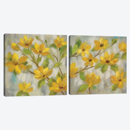 Golden Bloom Diptych Canvas Print Set #WAC2HSET125} by Silvia Vassileva Canvas Wall Art
