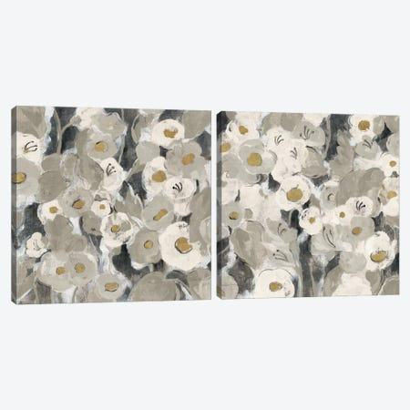 Velvety Florals Neutral Diptych Canvas Print Set #WAC2HSET126} by Silvia Vassileva Canvas Wall Art