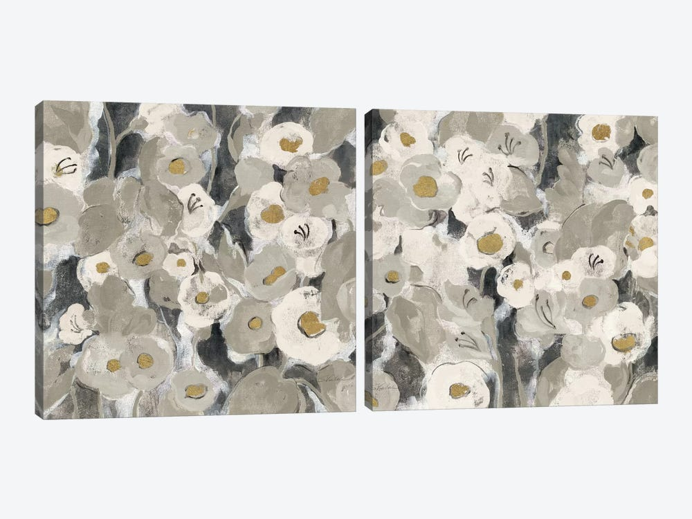 Velvety Florals Neutral Diptych by Silvia Vassileva 2-piece Canvas Artwork