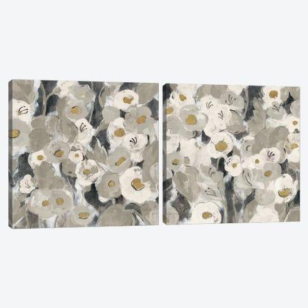 Velvety Florals Neutral Diptych Canvas Print Set #WAC2HSET126} by Silvia Vassileva Canvas Wall Art