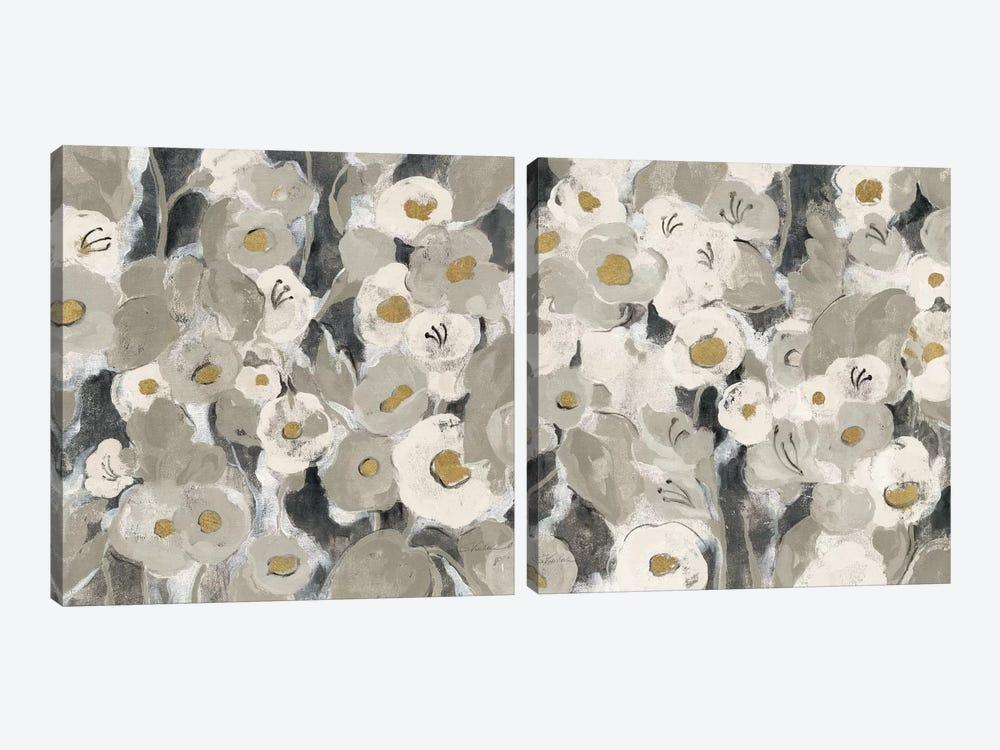Velvety Florals Neutral Diptych by Silvia Vassileva 2-piece Canvas Artwork