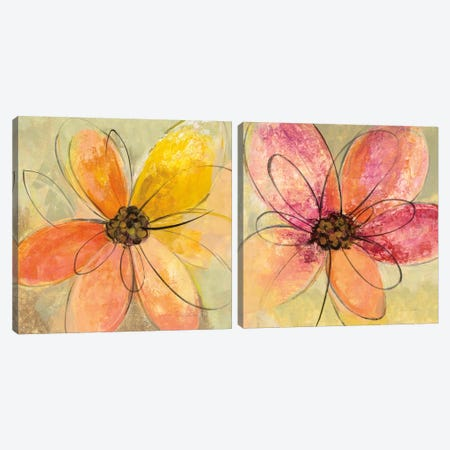 Neon Floral Diptych Canvas Print Set #WAC2HSET129} by Silvia Vassileva Canvas Print