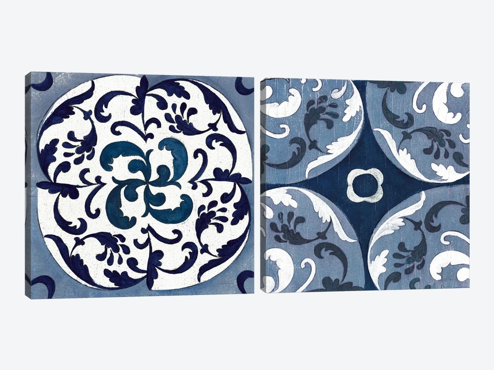 Indigo & Cream Coast Lines Diptych 2-piece Art Print