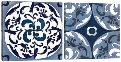 Indigo & Cream Coast Lines Diptych Canvas Art Print