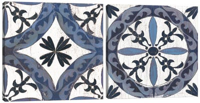 Indigo & Cream Downtown Diptych Canvas Art Print