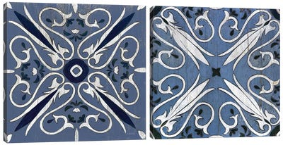 Indigo & Cream Oxford Diptych Canvas Art Print