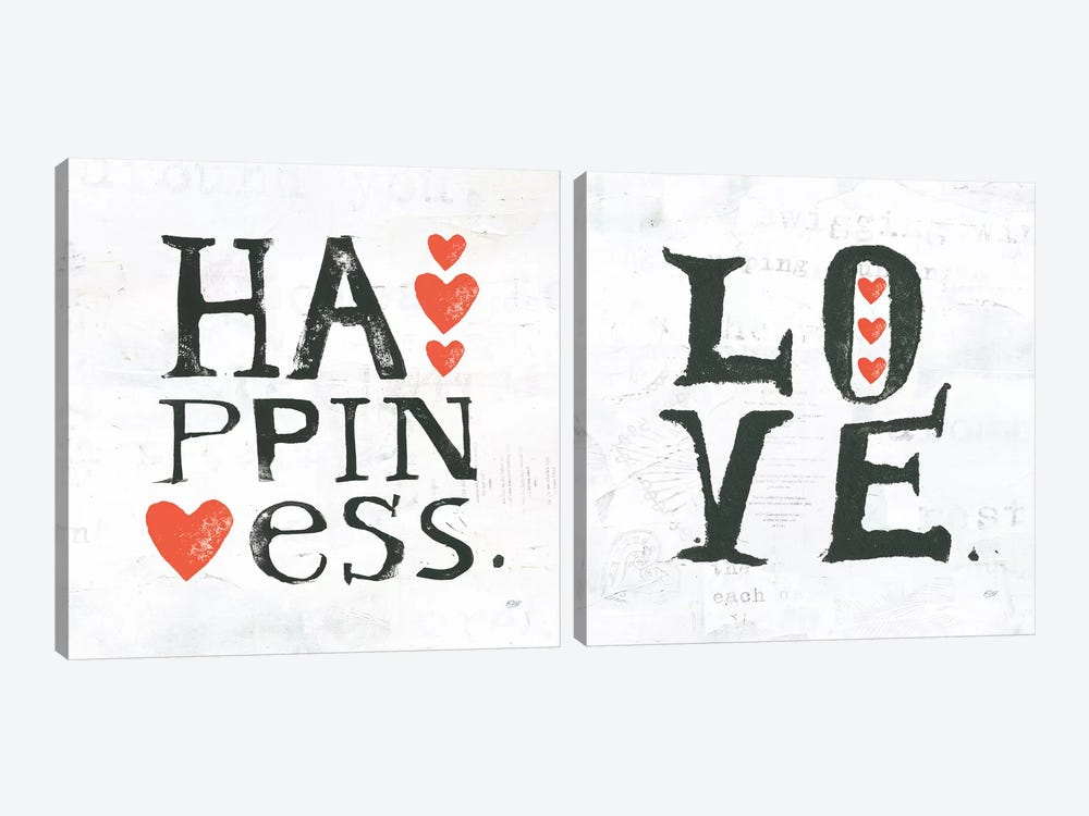 Love & Happiness Diptych by Kellie Day 2-piece Art Print