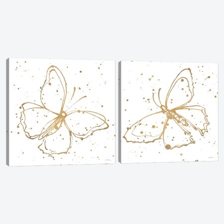 Golden Wings Diptych Canvas Print Set #WAC2HSET140} by Shirley Novak Canvas Art Print