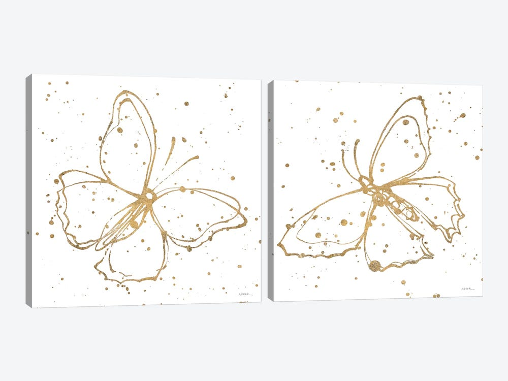 Golden Wings Diptych by Shirley Novak 2-piece Canvas Artwork