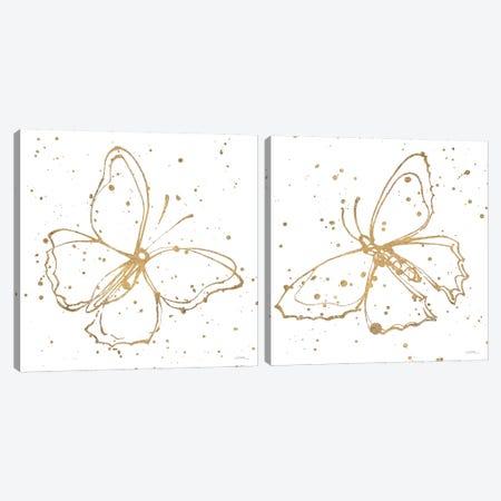 Golden Wings Diptych Canvas Print Set #WAC2HSET140} by Shirley Novak Canvas Art Print
