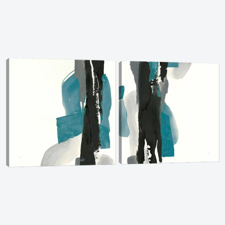 Black And Teal Diptych Canvas Print Set #WAC2HSET149} by Chris Paschke Canvas Art Print