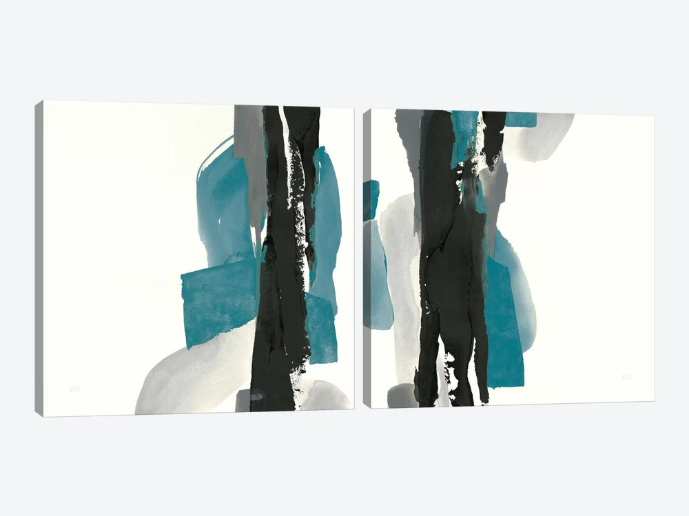 Black And Teal Diptych by Anne Tavoletti 2-piece Art Print