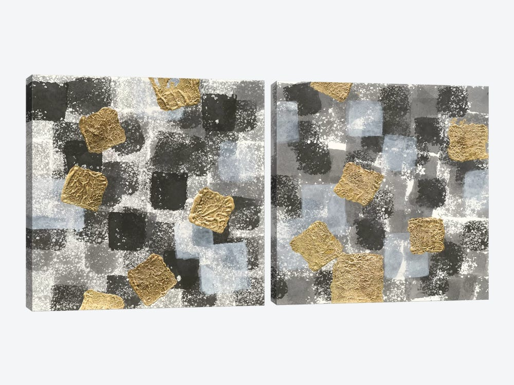 Gold Squares Diptych 2-piece Canvas Print