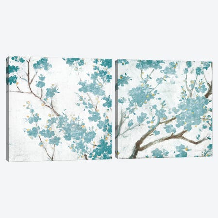 Cherry Blossoms Diptych Canvas Print Set #WAC2HSET154} by Danhui Nai Art Print