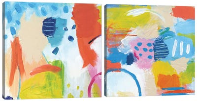 Cheerful Diptych Canvas Art Print