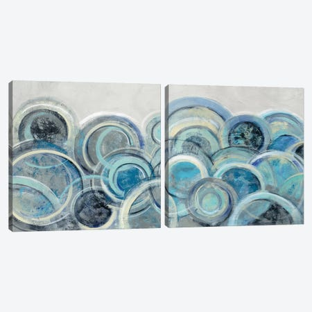 Variation Blue Grey Diptych Canvas Print Set #WAC2HSET160} by Silvia Vassileva Art Print