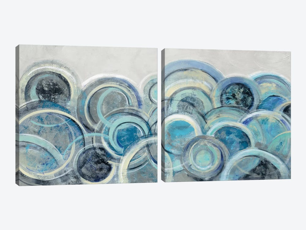 Variation Blue Grey Diptych by Silvia Vassileva 2-piece Canvas Wall Art
