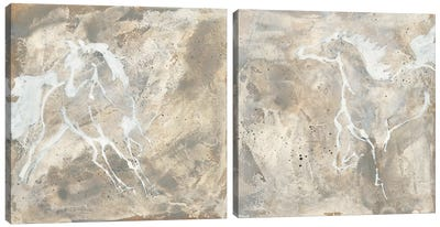 White Horse Diptych Canvas Art Print