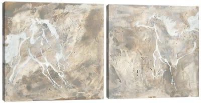 White Horse Diptych Canvas Art Print