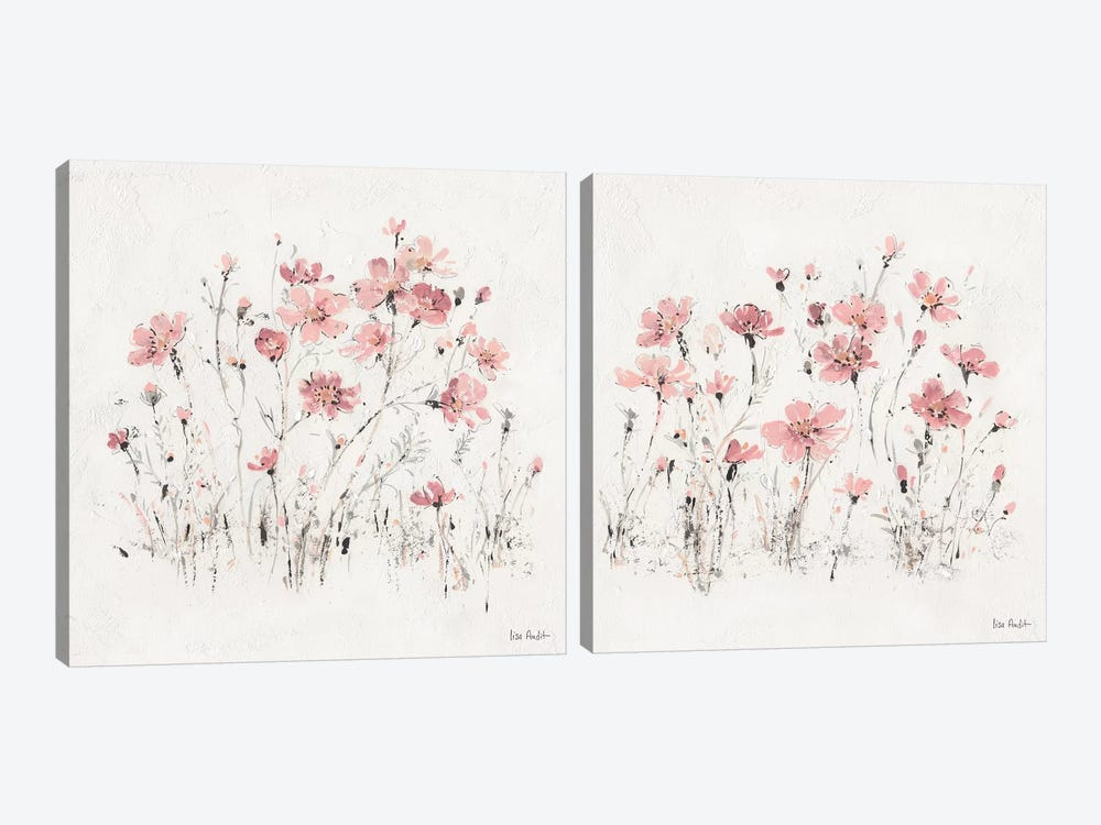Wildflowers Pink Diptych by Lisa Audit 2-piece Canvas Print