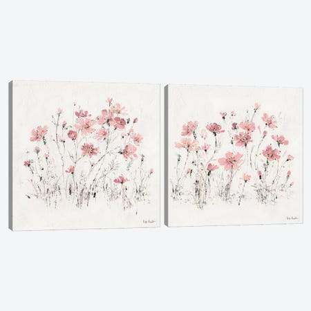 Wildflowers Pink Diptych Canvas Print Set #WAC2HSET167} by Lisa Audit Canvas Artwork