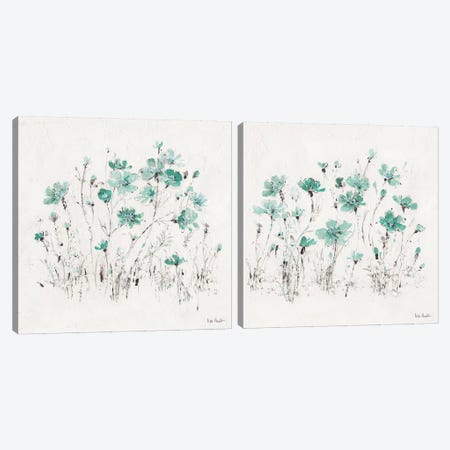 Wildflowers Turquoise Diptych Canvas Print Set #WAC2HSET168} by Lisa Audit Canvas Print