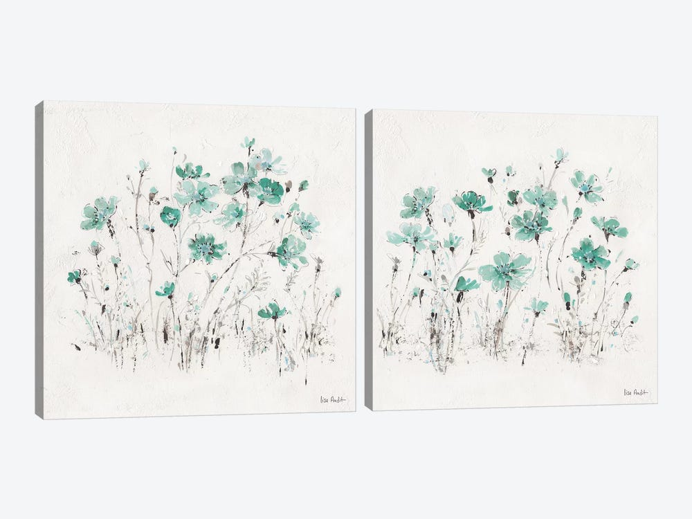 Wildflowers Turquoise Diptych by Lisa Audit 2-piece Canvas Art