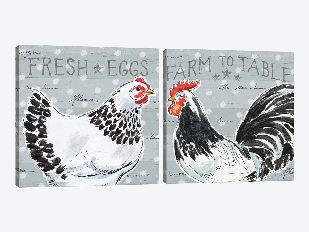 Roosters Call Diptych by Daphne Brissonnet 2-piece Canvas Art