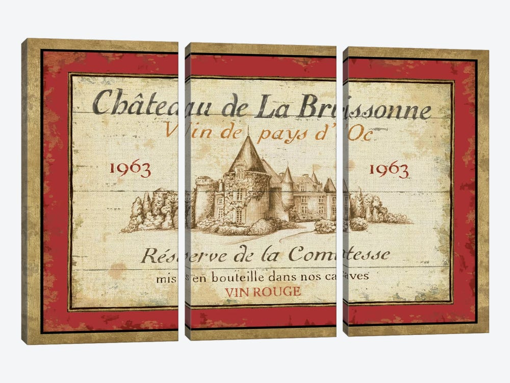 French Wine Labels I  by Daphne Brissonnet 3-piece Canvas Wall Art