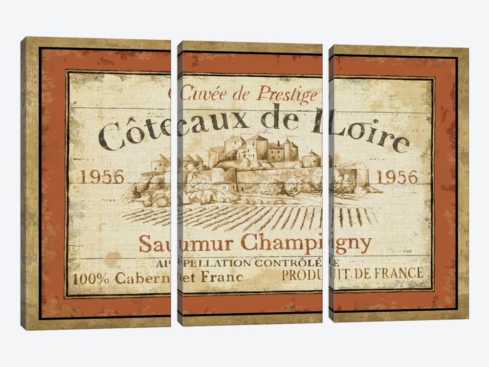 French Wine Labels II  by Daphne Brissonnet 3-piece Canvas Art Print