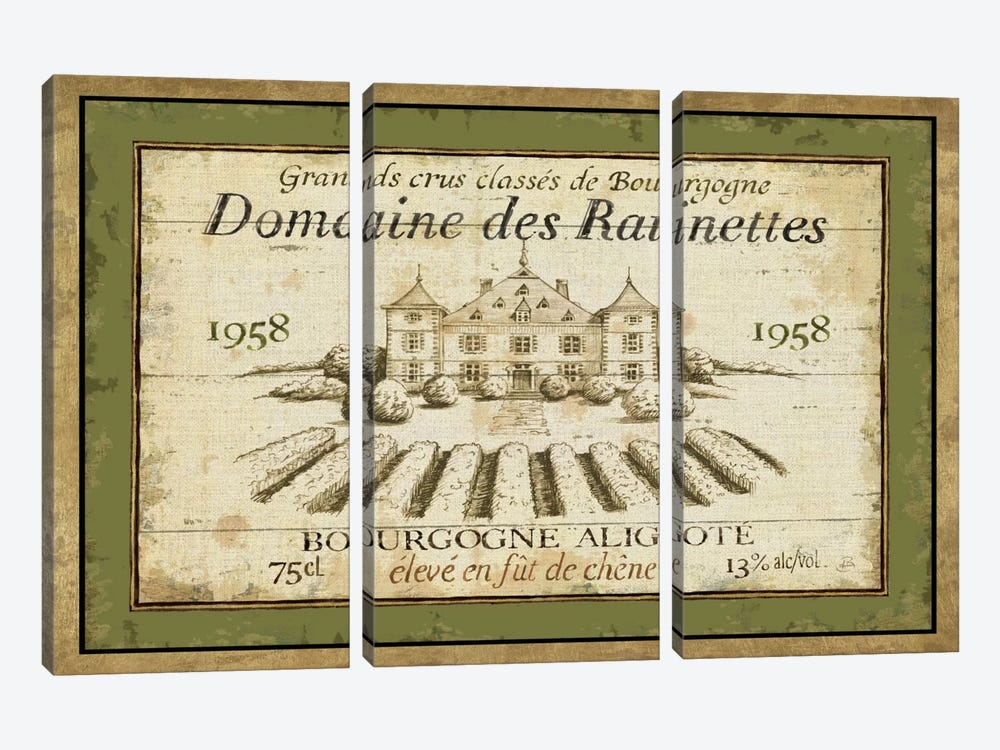 French Wine Label III  by Daphne Brissonnet 3-piece Canvas Wall Art
