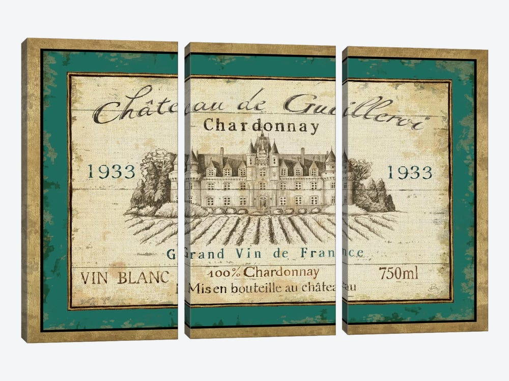French Wine Label IV  3-piece Canvas Print