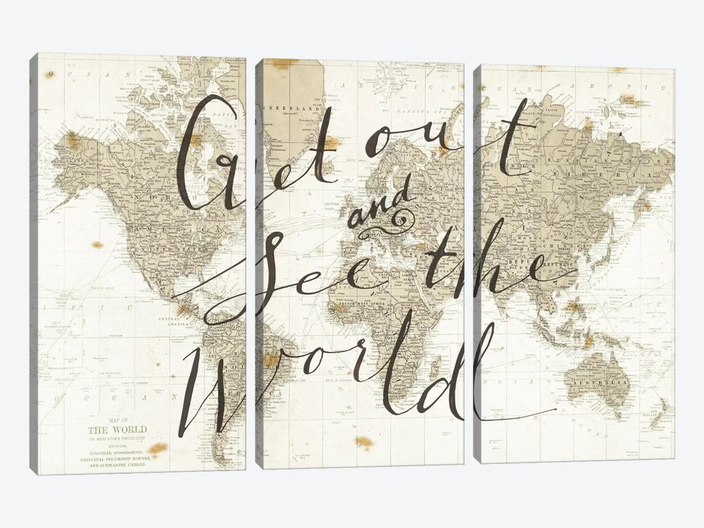 Get Out and See the World by Sara Zieve Miller 3-piece Canvas Artwork