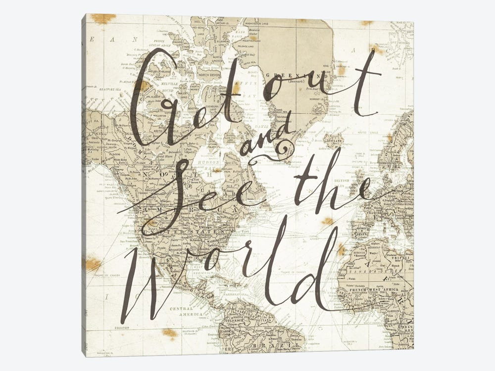 Get Out and See the World Square by Sara Zieve Miller 1-piece Canvas Print