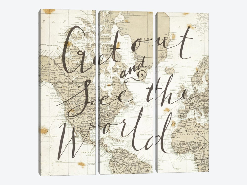 Get Out and See the World Square by Sara Zieve Miller 3-piece Art Print