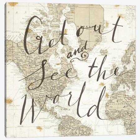Get Out and See the World Square Canvas Print #WAC3126} by Sara Zieve Miller Canvas Art