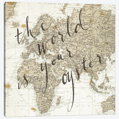 The World Is Your Oyster Square Canvas Print #WAC3128} by Sara Zieve Miller Canvas Art Print