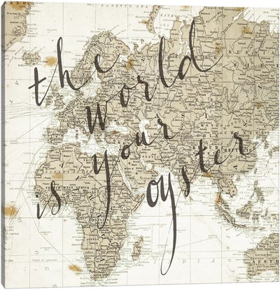 The World Is Your Oyster Square Canvas Print #WAC3128