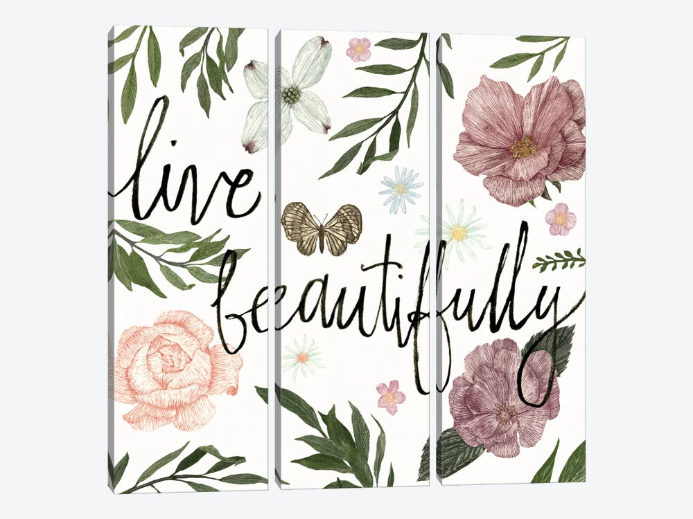 Live Beautifully by Sara Zieve Miller 3-piece Canvas Print