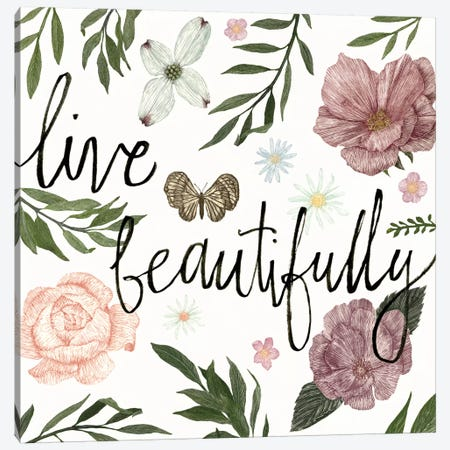 Live Beautifully Canvas Print #WAC3135} by Sara Zieve Miller Canvas Art Print