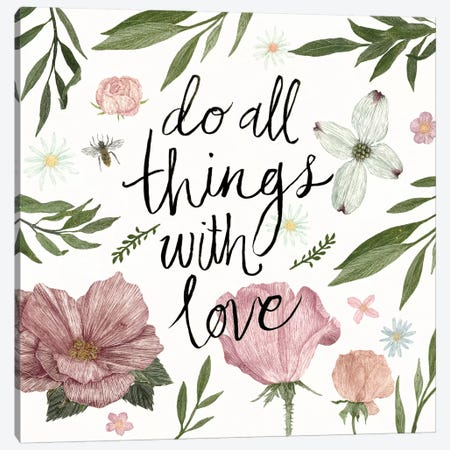 Live Beautifully Do All Things With Love Canvas Print #WAC3136} by Sara Zieve Miller Canvas Art Print