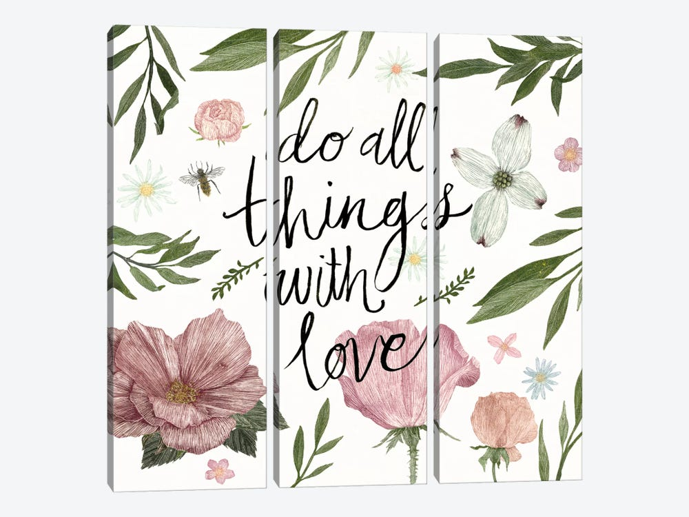 Live Beautifully Do All Things With Love by Sara Zieve Miller 3-piece Canvas Artwork