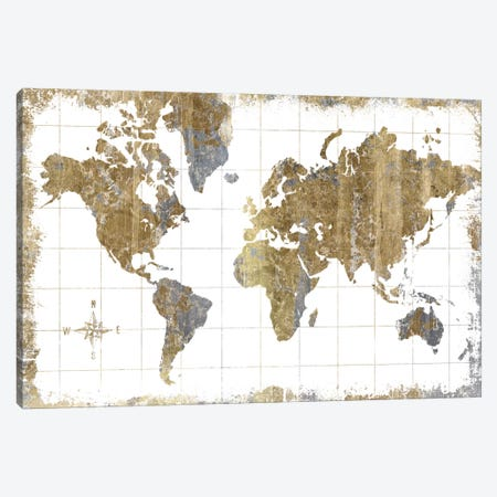 Gilded Map Canvas Print #WAC3210} by All That Glitters Art Print