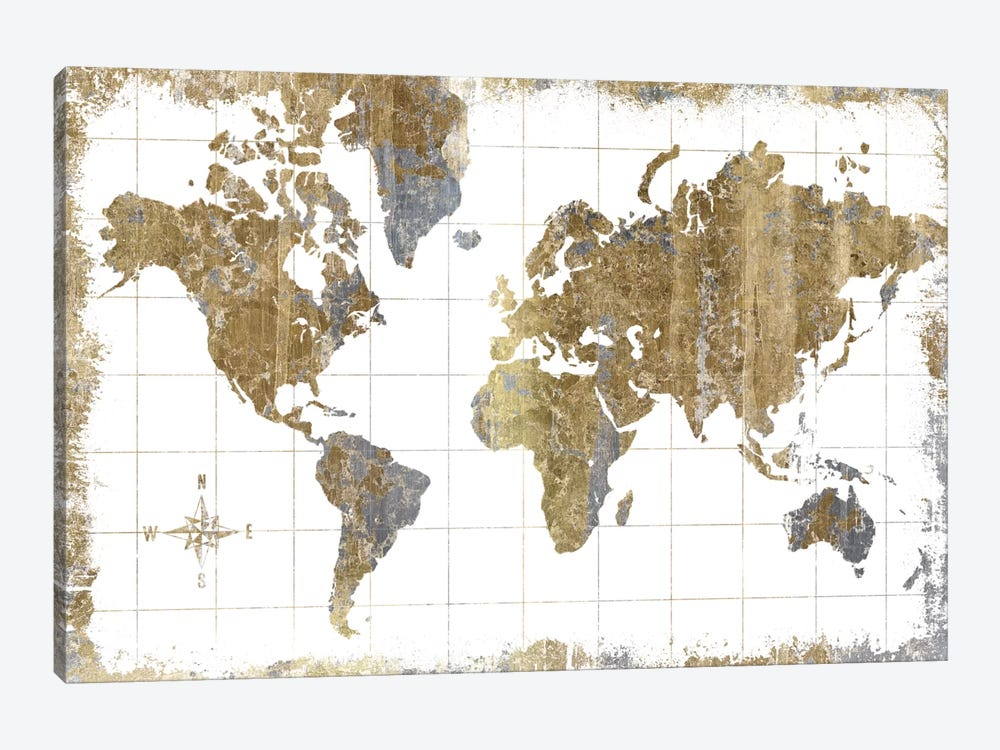 Gilded Map Canvas Wall Art By All That Glitters ICanvas - World map canvas