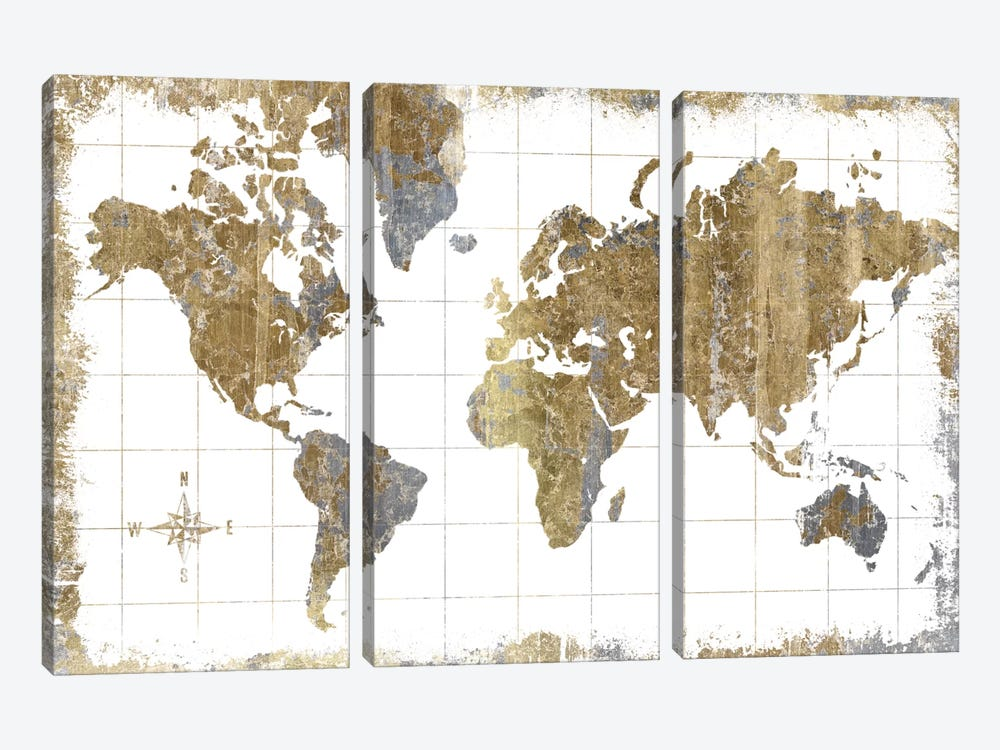 Gilded Map by All That Glitters 3-piece Canvas Wall Art