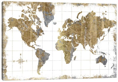 Gilded Map Canvas Art Print