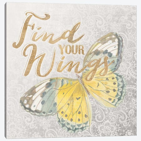 Textile Floral Butterfly II Canvas Print #WAC3214} by All That Glitters Canvas Art