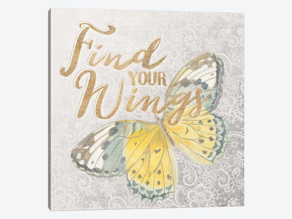 Textile Floral Butterfly II by All That Glitters 1-piece Canvas Wall Art