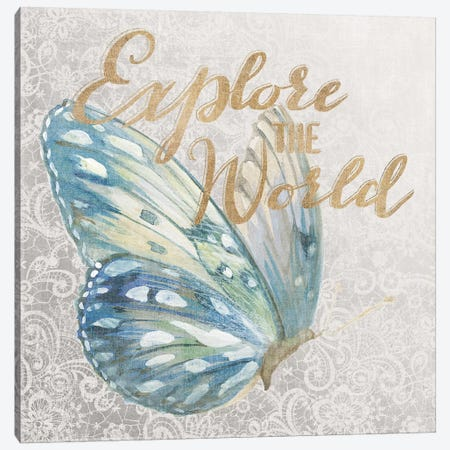 9 Textile Floral Butterfly III Canvas Print #WAC3215} by All That Glitters Canvas Wall Art