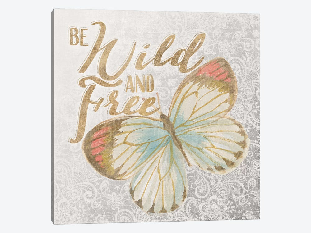 Textile Floral Butterfly IV by All That Glitters 1-piece Canvas Wall Art